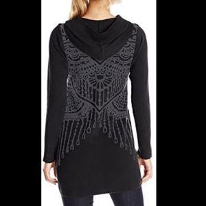 PrAna Misha Duster Sweater Hooded Zip Up L